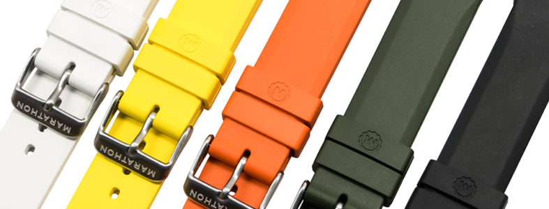 Marathon multi-colored vulcanized rubber straps